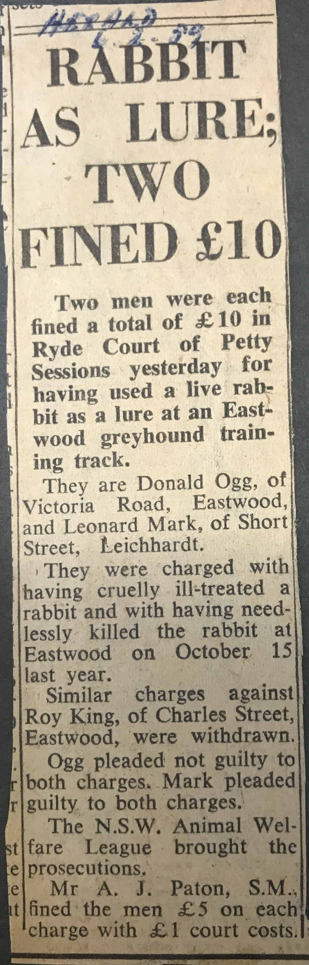 News article on rabbit lure prosecution
