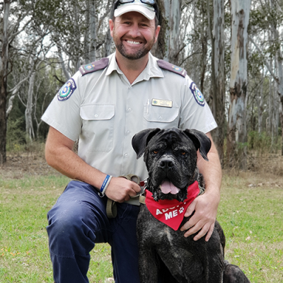 AWL NSW Inspector with a Rescued Dog