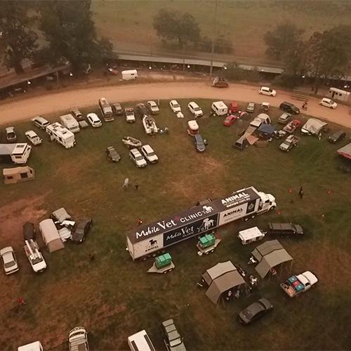 Mobile vet clinic truck in field