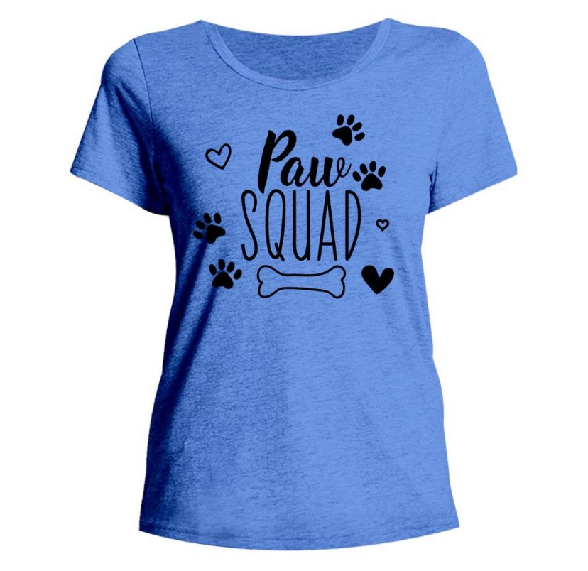 Blue tee with Paw squad logo