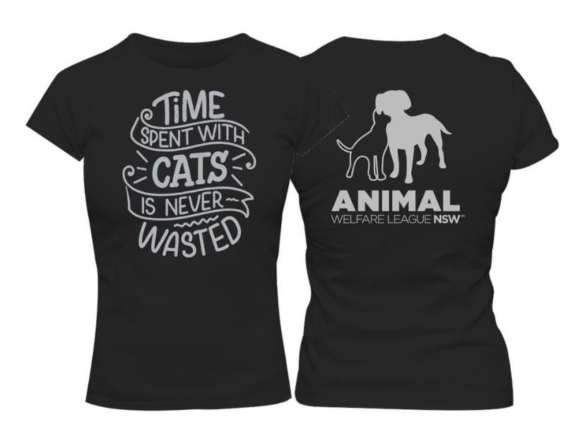 time spent with cats is wasted graphic Tee logo