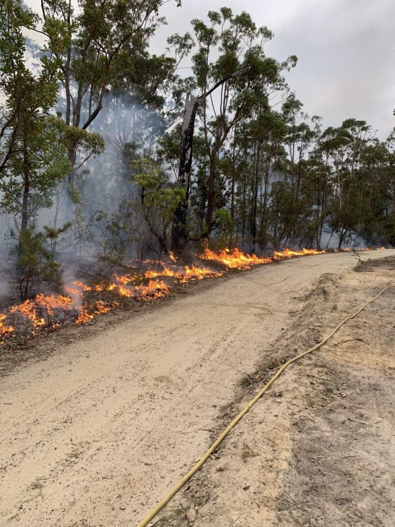 bush fire on dust track